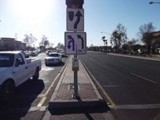 Crossing accidents caused by public transportation services, pedestrian crossing button on median