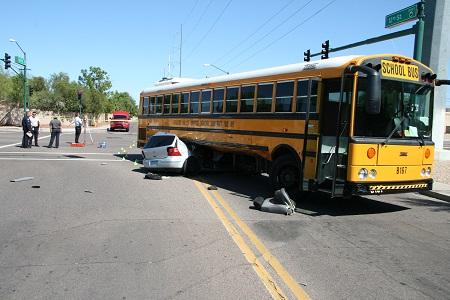 long wheelbase school bus turning accident
